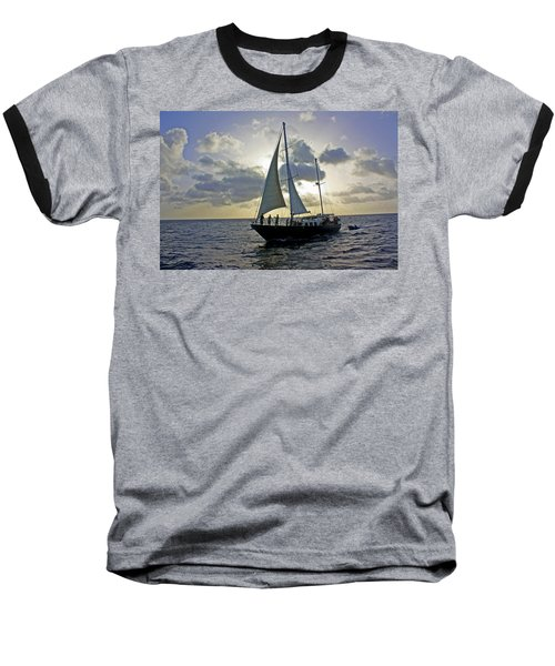 Sailing In Aruba Baseball T-Shirt by Suzanne Stout