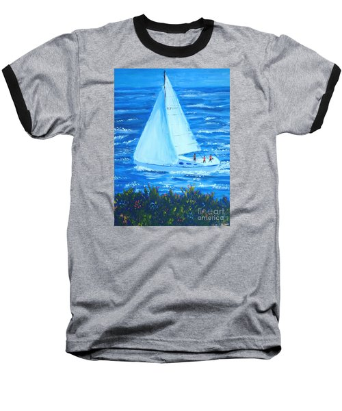 Sailing Off The Coast Baseball T-Shirt