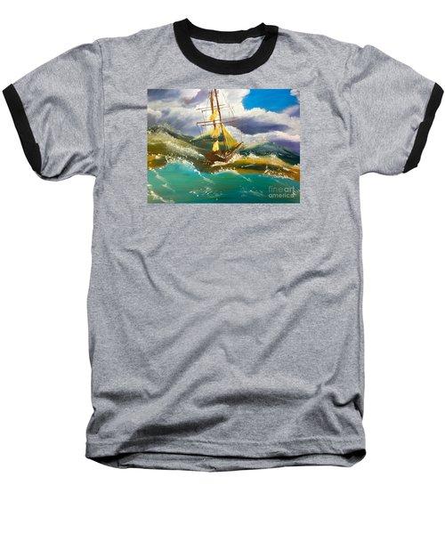 Sailing Ship In A Storm Baseball T-Shirt by Pamela  Meredith