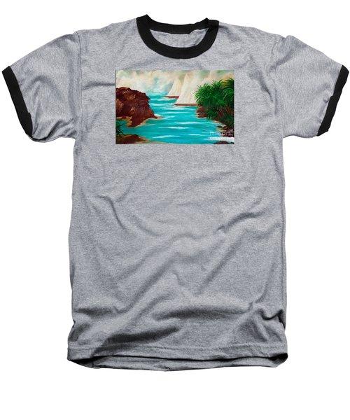 Sailing The Coast Of California Baseball T-Shirt by Sherri's Of Palm Springs