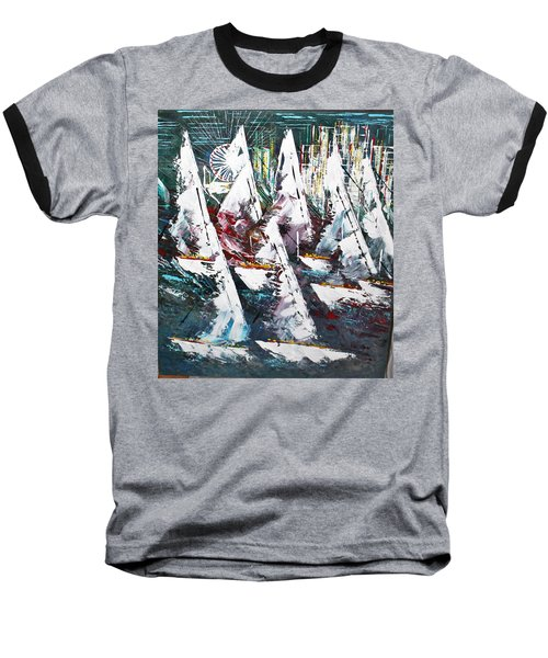 Sailing With Friends - Sold Baseball T-Shirt by George Riney