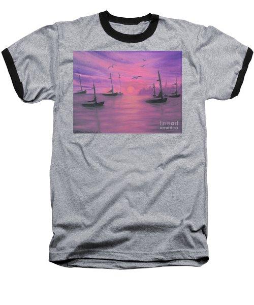 Sails At Dusk Baseball T-Shirt by Holly Martinson