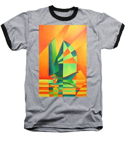 Baseball T-Shirt featuring the painting Sails At Sunrise by Tracey Harrington-Simpson