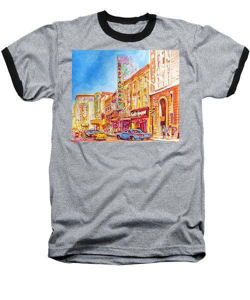 Baseball T-Shirt featuring the painting Saint Catherine Street Montreal by Carole Spandau