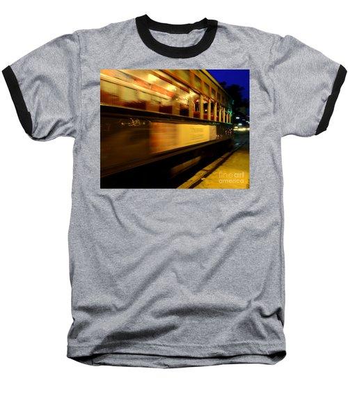 New Orleans Saint Charles Avenue Street Car In  Louisiana #7 Baseball T-Shirt by Michael Hoard