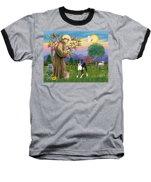 Saint Francis Blesses A Black And White Basenji Baseball T-Shirt