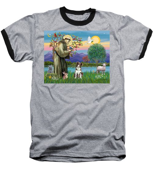 Saint Francis Blesses A Brown And White Border Collie Baseball T-Shirt