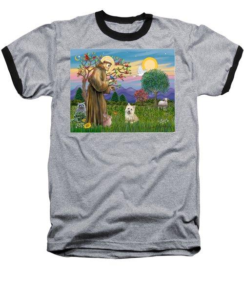 Saint Francis Blesses A Cairn Terrier Baseball T-Shirt