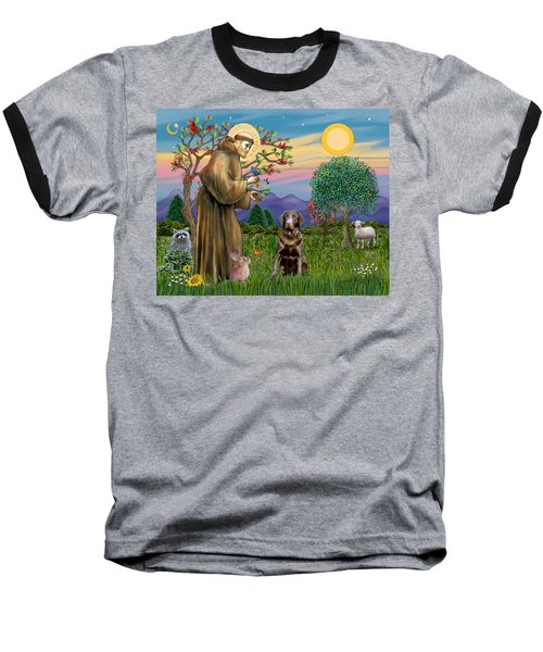 Saint Francis Blesses A Chocolate Labrador Retriever Baseball T-Shirt