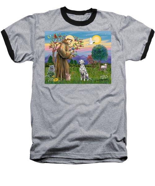 Saint Francis Blesses A Dalmatian Baseball T-Shirt