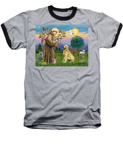 Saint Francis Blesses A Golden Retriever Baseball T-Shirt