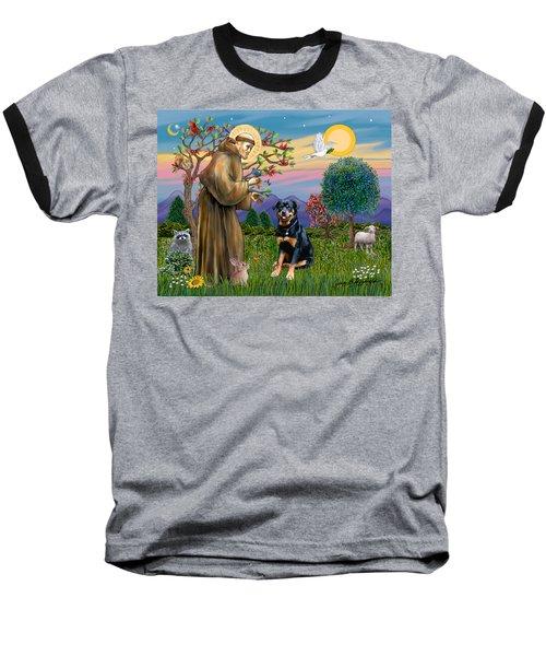 Saint Francis Blesses A Rottweiler Baseball T-Shirt