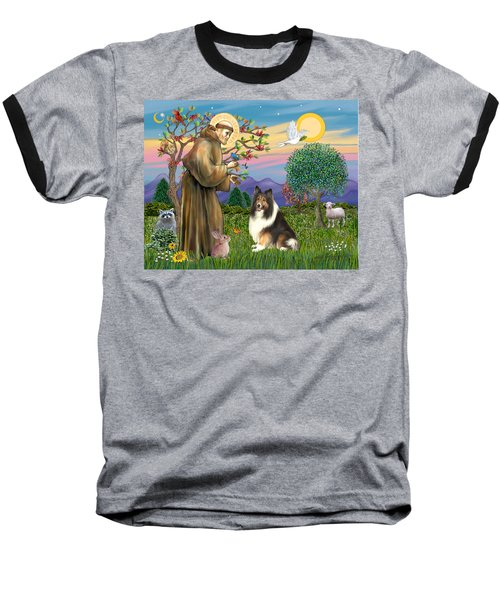 Saint Francis Blesses A Sable And White Collie Baseball T-Shirt