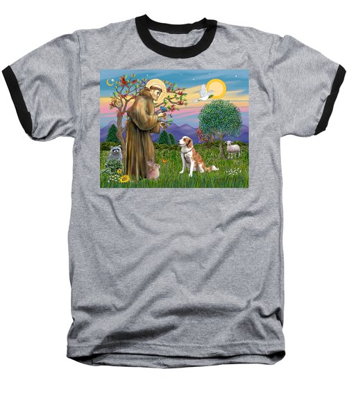 Saint Francis Blesses A Welsh Springer Spaniel Baseball T-Shirt