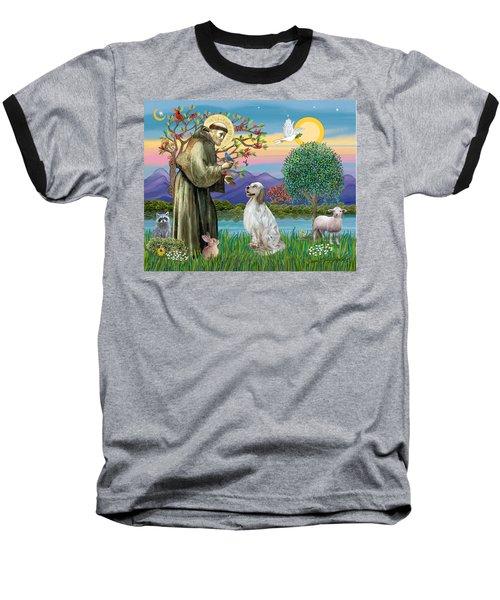 Saint Francis Blesses An English Setter Baseball T-Shirt