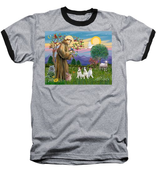Saint Francis Blesses Three Jack Russell Terriers Baseball T-Shirt