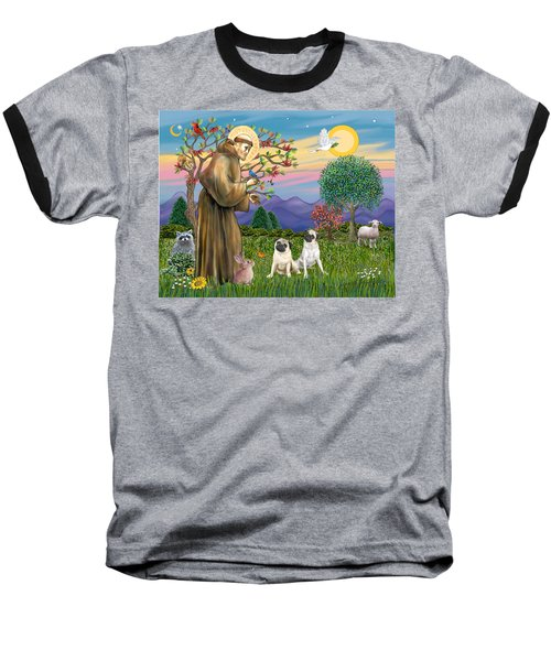 Saint Francis Blesses Two Fawn Pugs Baseball T-Shirt