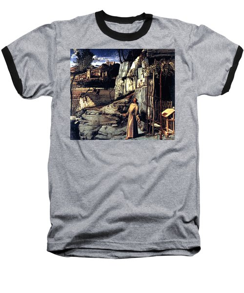 Baseball T-Shirt featuring the painting Saint Francis In Ecstasy 1485 Giovanni Bellini by Karon Melillo DeVega