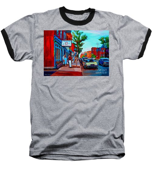 Baseball T-Shirt featuring the painting Saint Viateur Bagel Shop by Carole Spandau