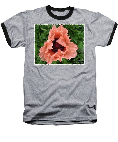 Salmon Colored Poppy Baseball T-Shirt by Barbara Griffin