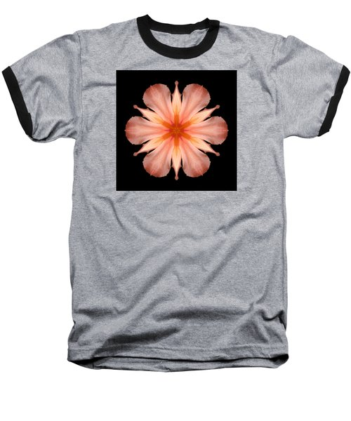 Salmon Daylily I Flower Mandala Baseball T-Shirt by David J Bookbinder