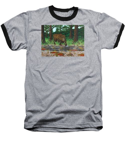 Salmon Fishing Baseball T-Shirt by Katherine Young-Beck