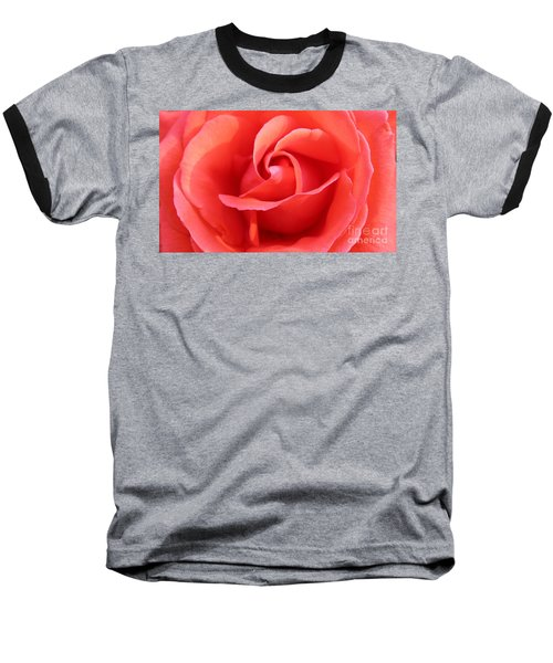 Salmon Floral Rose Abstract Baseball T-Shirt by Judy Palkimas