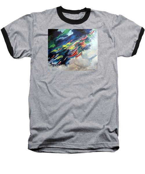 Baseball T-Shirt featuring the painting Salmon Run by Carol Sweetwood