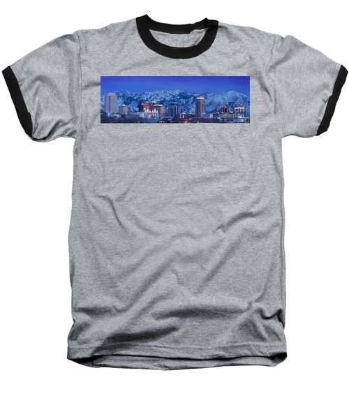 Salt Lake City Skyline Baseball T-Shirt