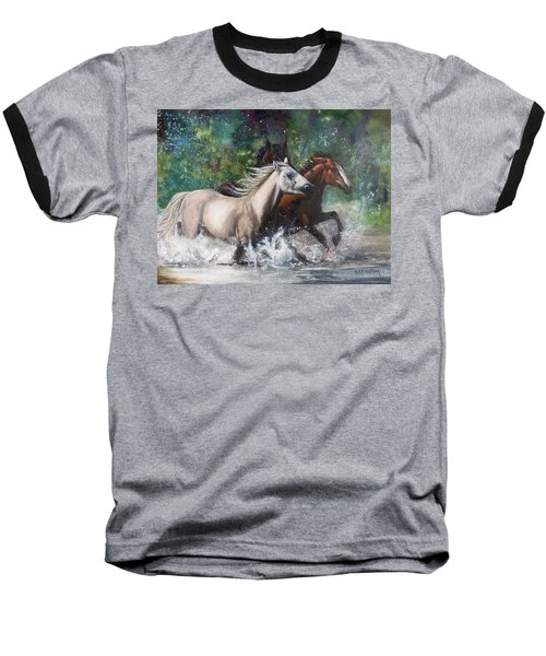 Baseball T-Shirt featuring the painting Salt River Horseplay by Karen Kennedy Chatham