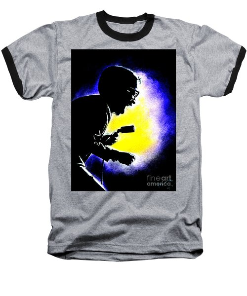 Baseball T-Shirt featuring the drawing Sammy David Jr Singing His Heart Out by Jim Fitzpatrick