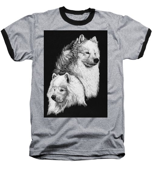 Baseball T-Shirt featuring the drawing Samoyed by Rachel Hames