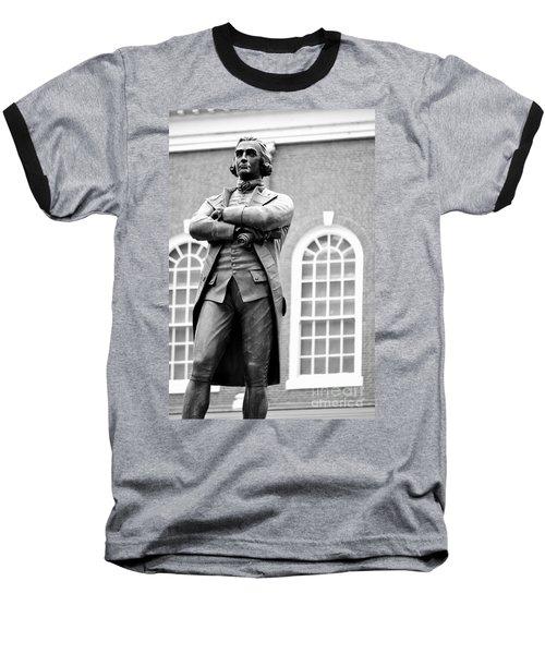 Samuel Adams Statue State House Boston Ma Black And White Baseball T-Shirt