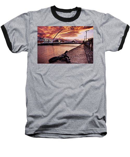 Samuel Beckett Bridge At Dusk - Dublin Baseball T-Shirt