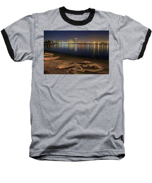 Baseball T-Shirt featuring the photograph San Diego Harbor Lights by Gary Holmes