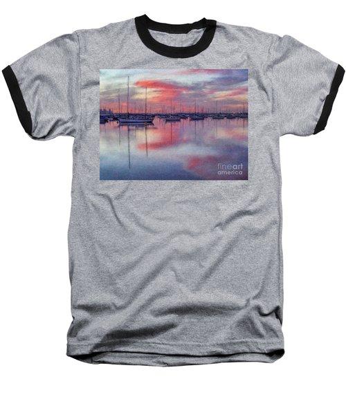 Baseball T-Shirt featuring the digital art San Diego - Sailboats At Sunrise by Lianne Schneider