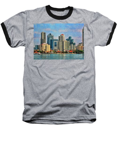 Baseball T-Shirt featuring the photograph San Diego Skyline by Peggy Hughes
