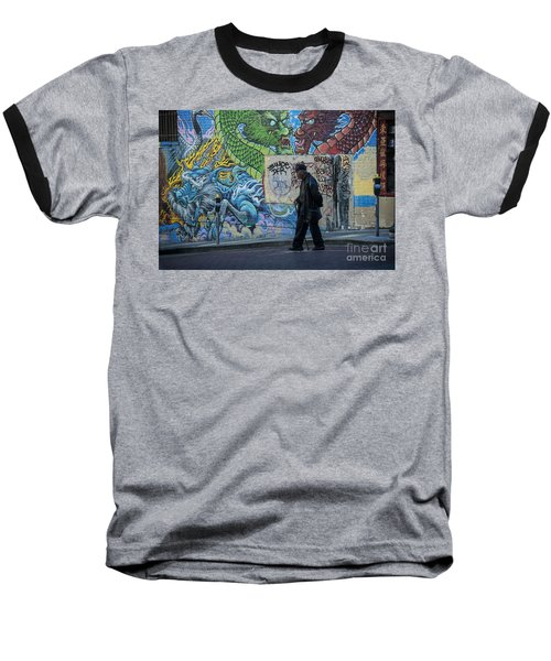 San Francisco Chinatown Street Art Baseball T-Shirt by Juli Scalzi
