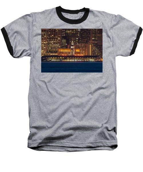 San Francisco Ferry Building At Night.  Baseball T-Shirt