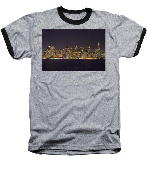 San Francisco Nighttime Skyline 1 Baseball T-Shirt