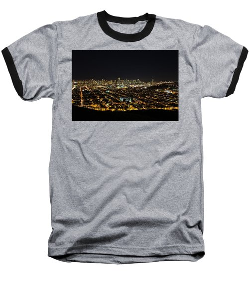 San Francisco Skyline Baseball T-Shirt by Dave Files