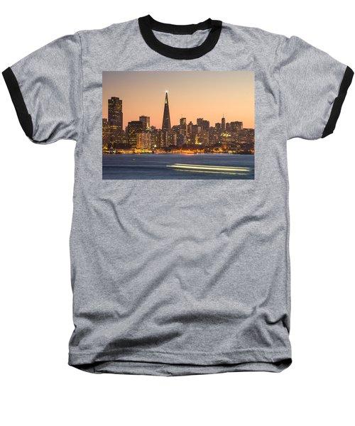 San Francisco Skyline Late Evening Baseball T-Shirt