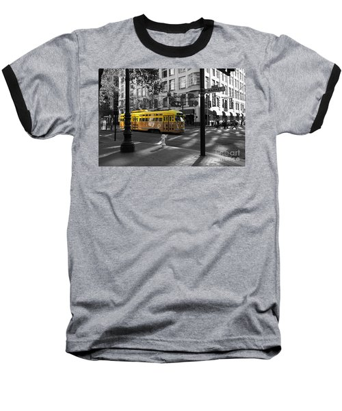 San Francisco Vintage Streetcar On Market Street - 5d19798 - Black And White And Yellow Baseball T-Shirt