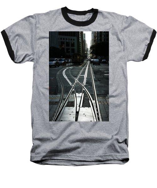 Baseball T-Shirt featuring the photograph San Francisco Silver Cable Car Tracks by Georgia Mizuleva