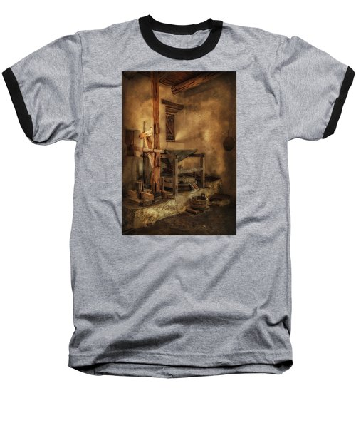 Baseball T-Shirt featuring the photograph San Jose Mission Mill by Priscilla Burgers