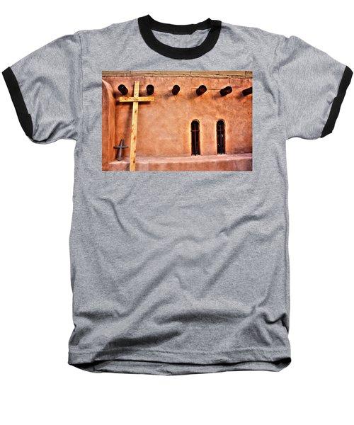Baseball T-Shirt featuring the photograph Santuario Four Crosses by Lanita Williams