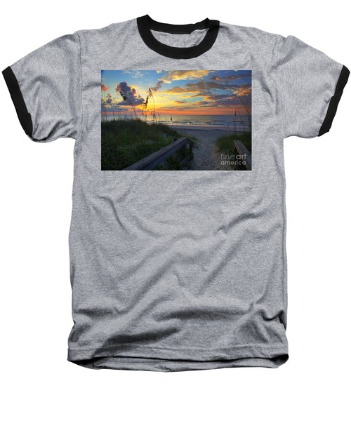 Sand Dunes On The Seashore At Sunrise - Carolina Beach Nc Baseball T-Shirt