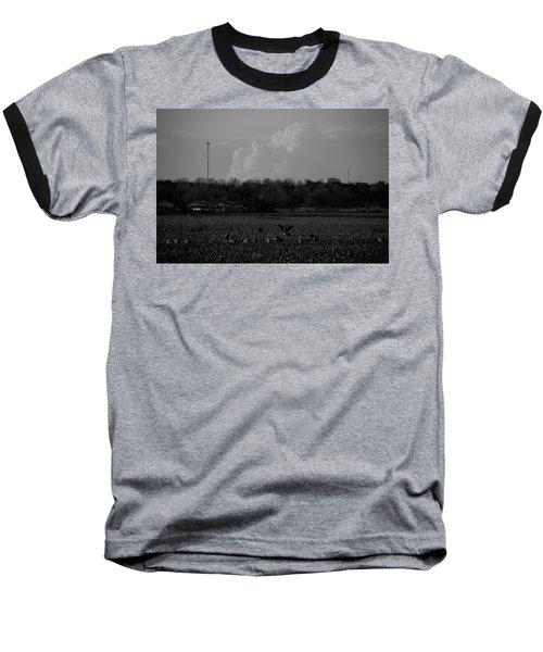 Sand Hill Cranes With Nebraska Thunderstorm Baseball T-Shirt