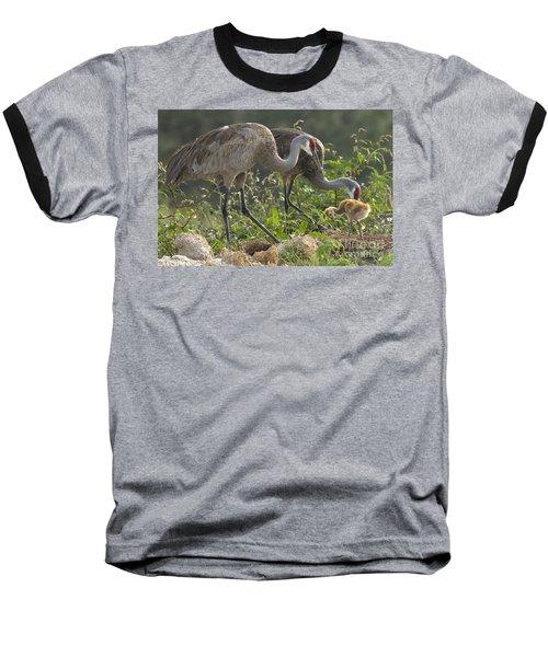 Sandhill Crane Family Baseball T-Shirt