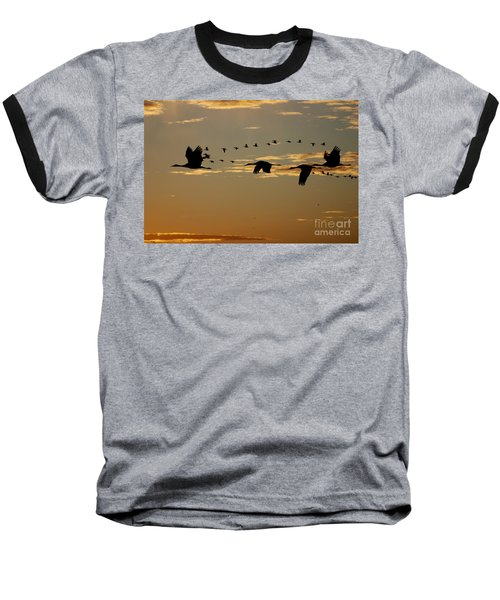 Sandhill Cranes At Sunset Baseball T-Shirt